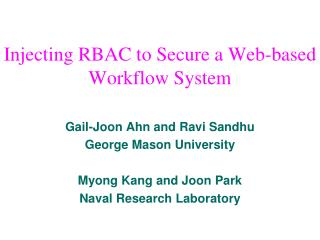 Injecting RBAC to Secure a Web-based Workflow System
