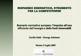 RISPARMIO ENERGETICO, STRUMENTO PER LA COMPETITIVITA'