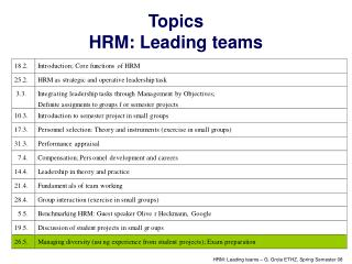Topics  HRM: Leading teams