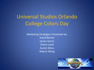 Universal Studios Orlando  College Colors Day