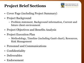 Project Brief Sections