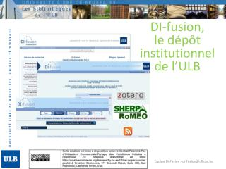 DI-fusion ,  le d�p�t institutionnel de l�ULB