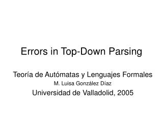 Errors in Top-Down Parsing