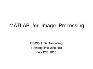 MATLAB  for  Image  Processing