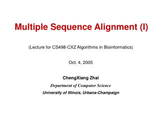 Multiple Sequence Alignment (I)