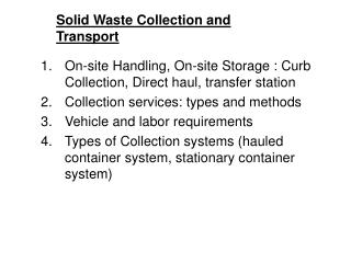 Solid Waste Collection and Transport