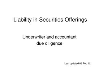 Liability in Securities Offerings