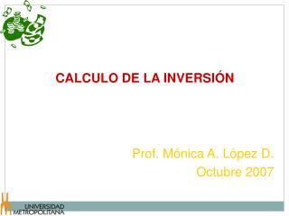 CALCULO DE LA INVERSI�N