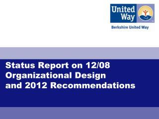 Status Report on 12/08 Organizational Design  and 2012 Recommendations