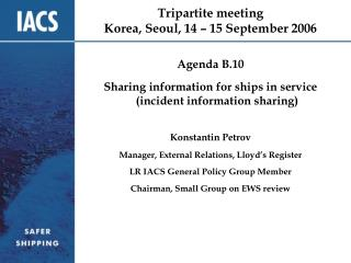 Tripartite meeting Korea, Seoul, 14 – 15 September 2006