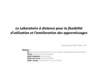 Le Laboratoire à distance pour la flexibilité d'utilisation et l'amélioration des apprentissages