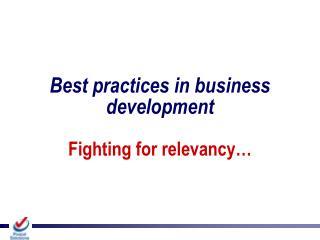 Best practices in business development