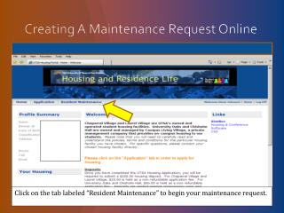 Creating A Maintenance Request Online