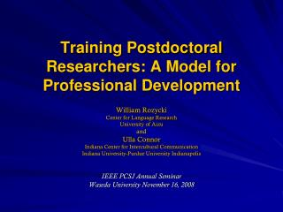 Training Postdoctoral Researchers: A Model for Professional Development