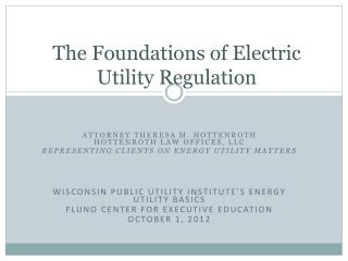 The Foundations of Electric Utility Regulation