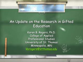 An Update on the Research in Gifted Education