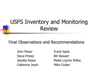 USFS Inventory and Monitoring Review