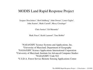 MODIS Land Rapid Response Project