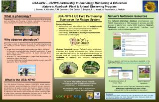 USA-NPN � USFWS Partnership in Phenology Monitoring & Education