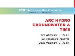 Arc Hydro Groundwater & Time