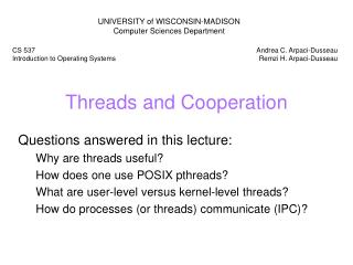 Threads and Cooperation