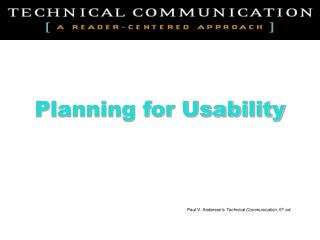 Planning for Usability