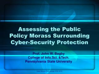 Assessing the Public Policy Morass Surrounding Cyber-Security Protection