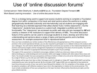Use of 'online discussion forums'
