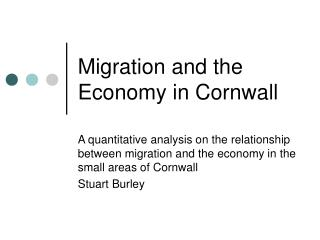 Migration and the Economy in Cornwall
