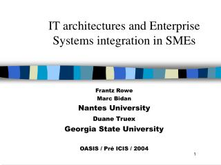 IT architectures and Enterprise Systems integration in SMEs
