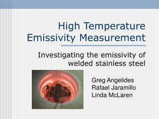 High Temperature Emissivity Measurement