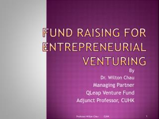 Fund raising for entrepreneurial venturing
