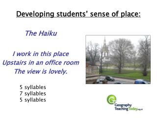 Developing students' sense of place: