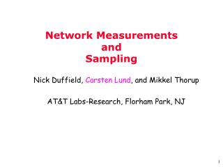 Network Measurements  and  Sampling