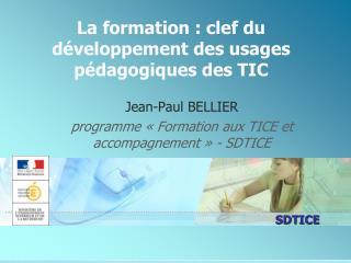La formation : clef du  développement des usages pédagogiques des TIC