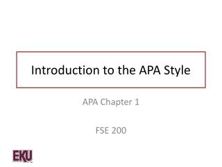 Introduction to the APA Style