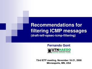 Recommendations for filtering ICMP messages (draft-ietf-opsec-icmp-filtering)