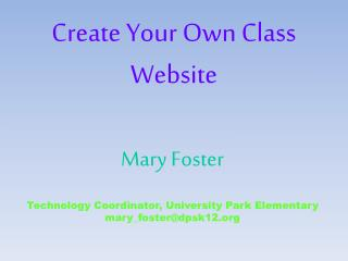 Create Your Own Class Website