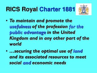 RICS Royal  Charter 1881