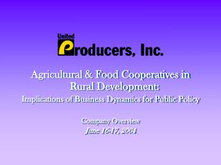 Agricultural & Food Cooperatives in Rural Development:
