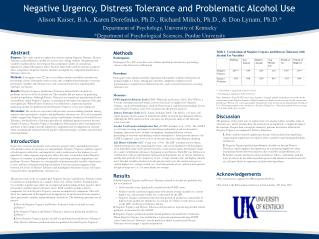 Negative Urgency, Distress Tolerance and Problematic Alcohol Use