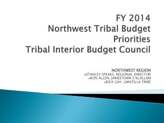 FY 2014 Northwest Tribal Budget Priorities Tribal Interior Budget Council
