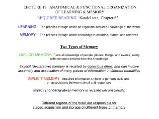 LECTURE 19:  ANATOMICAL & FUNCTIONAL ORGANIZATION OF LEARNING & MEMORY