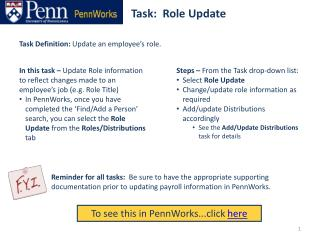 Task:  Role Update