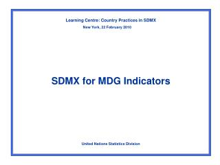 SDMX for MDG Indicators