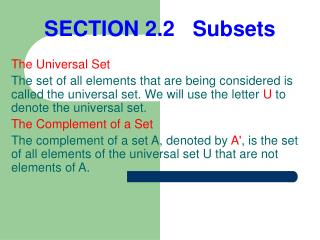 SECTION 2.2   Subsets