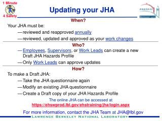 Updating your JHA