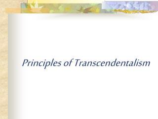 Principles of Transcendentalism