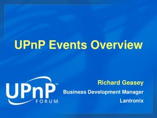 UPnP Events Overview