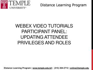 Webex  Video Tutorials  participant panel: Updating Attendee  Privileges and Roles